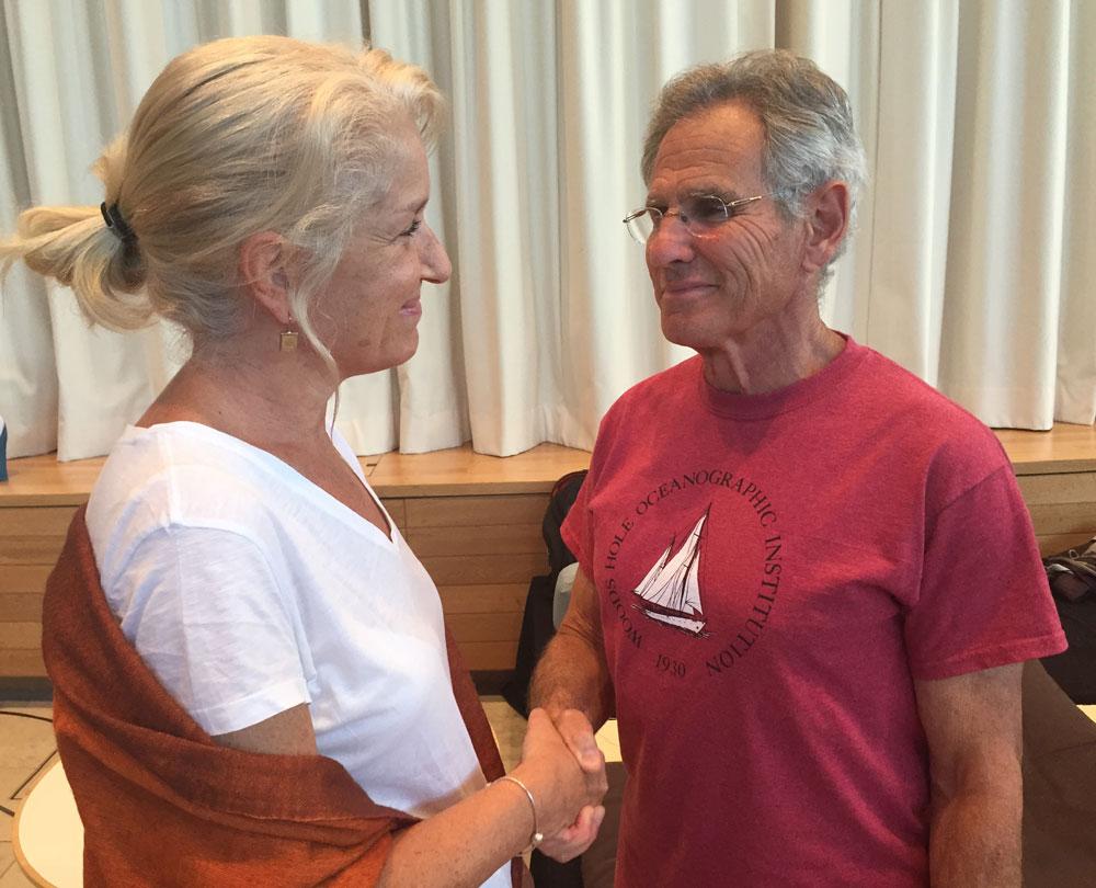 Helen Grain con su mentor Jon Kabat-Zinn.